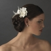 Silver Ivory Feather Ribbon Bridal Hair Clip 8249