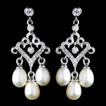 Antique Rhodium Small Freshwater Pearl Drop Chandelier Earrings 6524