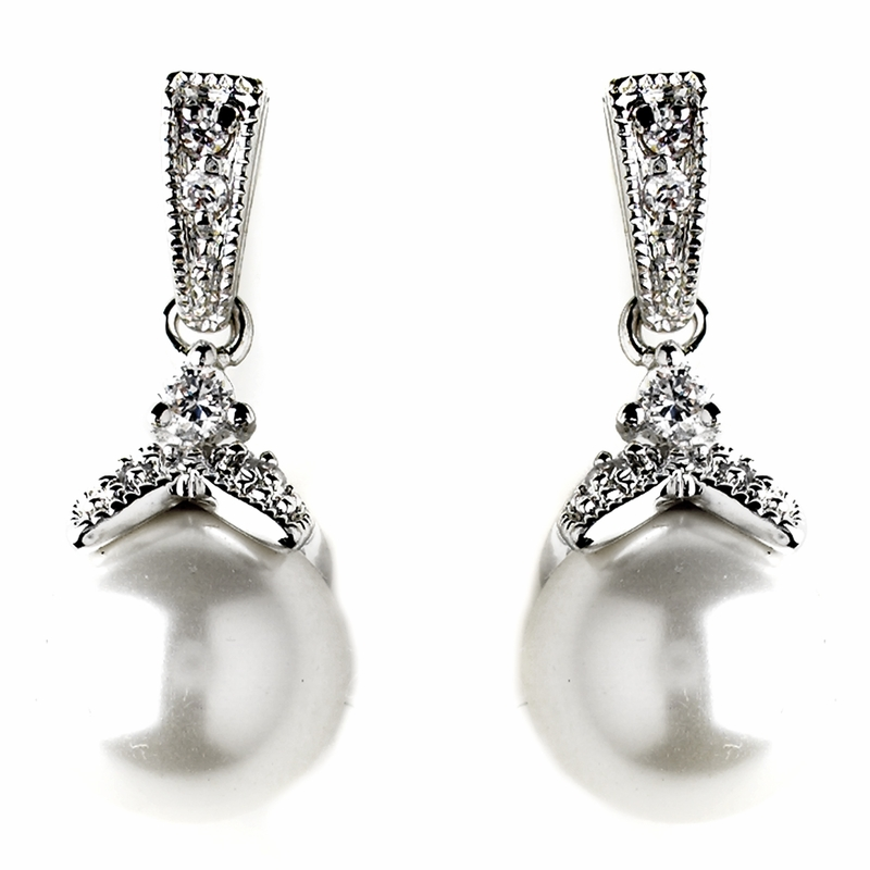 bridal jewellery earrings with pearl