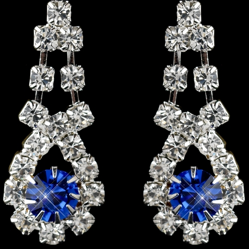Silver Sapphire & Clear Rhinestone Dangle Earrings 9381