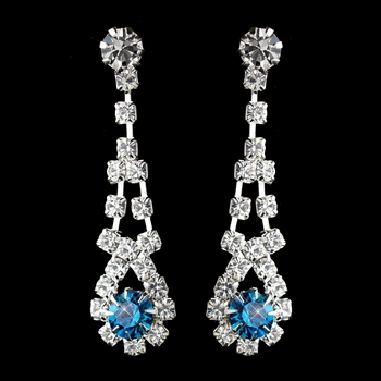 Silver Teal & Clear Rhinestone Dangle Earrings 9381