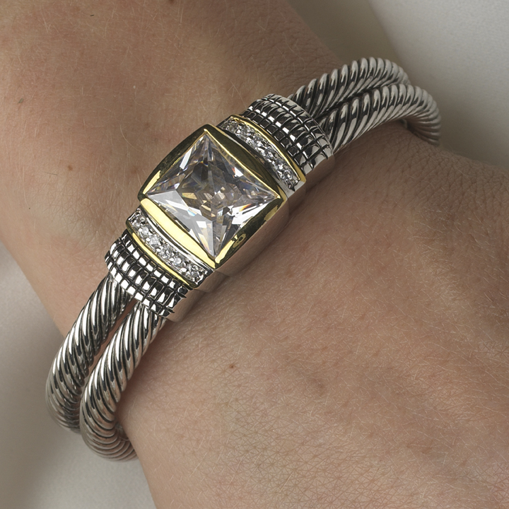 Designer Inspired Silver Double Cable Bangle Bracelet W