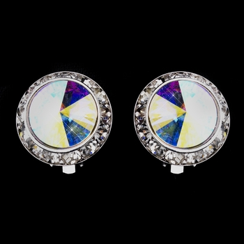 Silver AB Round Rhinestone Rondelle Stud Clipped Earrings 9932
