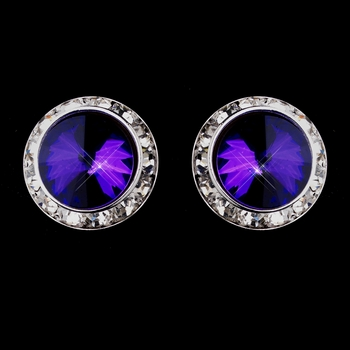 Silver Amethyst Round Rhinestone Rondelle Stud Clipped Earrings 9932