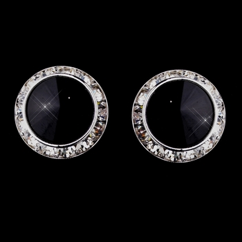 Silver Black Round Rhinestone Rondelle Stud Clipped Earrings 9932
