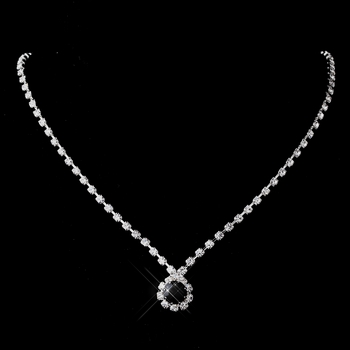 Silver Black & Clear Round Rhinestone Necklace 0511