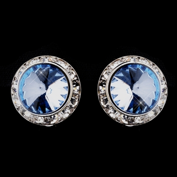Silver Light Blue Round Rhinestone Rondelle Stud Clipped Earrings 9932