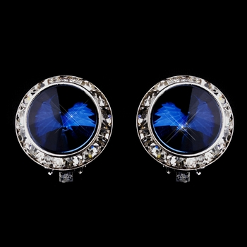 Silver Navy Round Rhinestone Rondelle Stud Clipped Earrings 9932