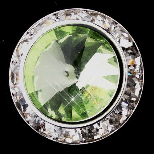 Silver Peridot Round Rhinestone Rondelle Stud Clipped Earrings 9932