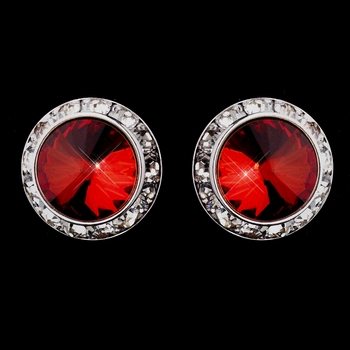 Silver Red Round Rhinestone Rondelle Stud Clipped Earrings 9932
