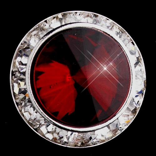 Silver Ruby Round Rhinestone Rondelle Stud Clipped Earrings 9932