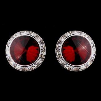Silver Ruby Round Rhinestone Rondelle Stud Pierced Earrings 9932
