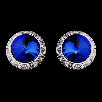 Silver Sapphire Round Rhinestone Rondelle Stud Clipped Earrings 9932