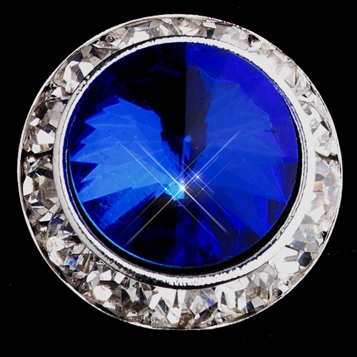Silver Sapphire Round Rhinestone Rondelle Stud Pierced Earrings 9932