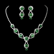 Emerald Green Necklace Earring Set 4362