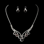 Silver Amethyst Necklace and Earring Set 8477