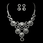 Silver Clear Necklace and Earring Set 12176