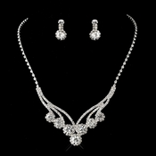 Silver Clear Necklace and Earring Set 8477