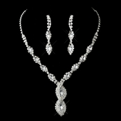 Silver Clear Necklace Earring Set 8486