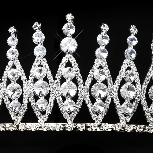 Silver Clear Rhinestone Pageant Tiara Headpiece 245**Discontinued**