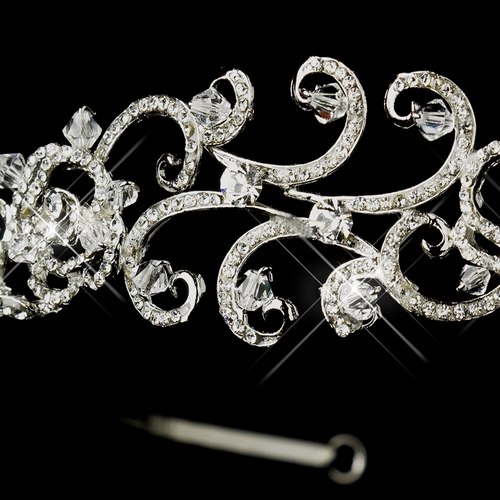 Antique Silver Clear Crystal Bead & Rhinestone Swirl Tiara 864 ***Discontinued***