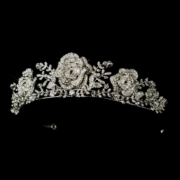 Antique Silver Clear Rhinestone Flowers & Leaves Tiara Headpiece 868