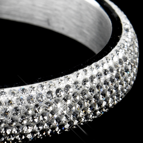 Silver with White Enamel & Clear Rhinestones Bangle Bracelet 8972