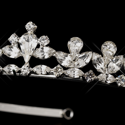 Silver Clear Multi-Cut Rhinestone Headband Headpiece 3244