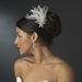* Glamorous Silver Clear Crystal & White or Ivory Feather Fascinator 1537