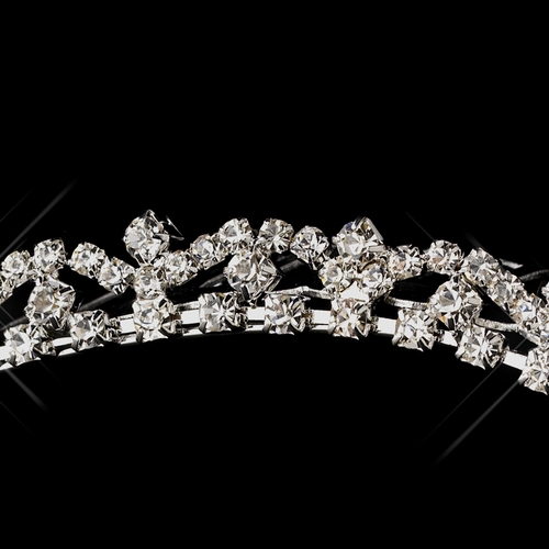 Silver Clear Rhinestone Hair Comb Headpiece 6019