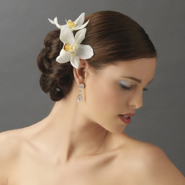 Elegant delicate white orchid flower hair clip pin 907 white mightylinksfo