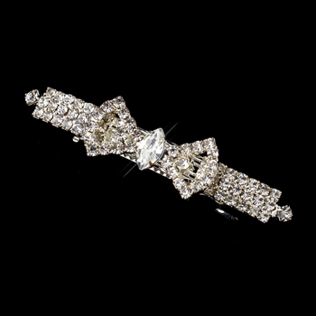 Silver Clear Rhinestone Bow Hair Barrette 6276