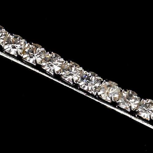 Silver Clear 1 Row Rhinestone Hair Bobby Pin 6305