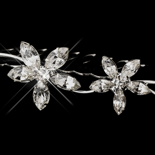 Silver Clear Floral Rhinestone Side Hair Comb 7049