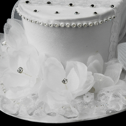 Floral Bridal Top Hat Headpiece 872 (White or Ivory)