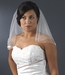 "Veil 510 Ivory or White - Shoulder Length Veil w/Rosette Appliques (20"" x 22"")"