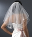 "Bridal Wedding Veil Shoulder Length Veil w/Rosette Appliques (20"" x 22"") Veil 510 White or Ivory"