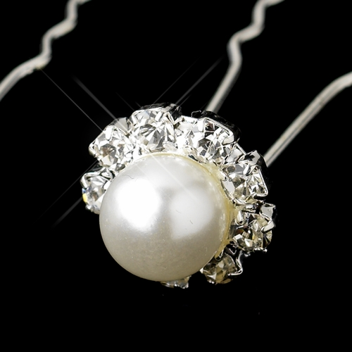 Silver White Glass Pearl & Clear Rhinestone Hair Pin 8090***Discontinued***