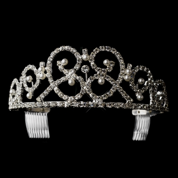 Silver White Pearl & Clear Rhinestone Heart Tiara Headpiece 9093
