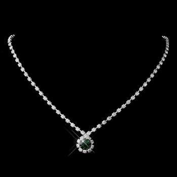 Silver Emerald & Clear Round Rhinestone Necklace 0511