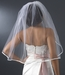 "VS 1E Diamond White 3/8"" Satin Ribbon Edge Veil, 1 Layer Elbow Length Veil (30"")"
