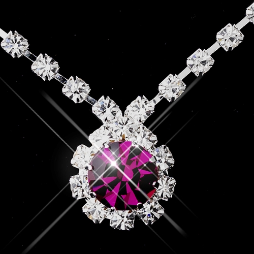Silver Fuchsia & Clear Round Rhinestone Necklace 0511