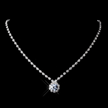 Silver Light Blue & Clear Round Rhinestone Necklace 0511