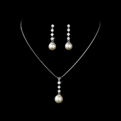 Pearl and Cubic Zirconia Drop Jewelry Set NE-3626