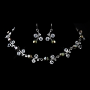 Necklace & Earrings Jewelry Set 1043 Brown Green