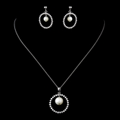 Solid 925 Sterling Silver CZ Crystal & Freshwater Pearl Circle Drop Necklace & Earrings Jewelry Set 9985