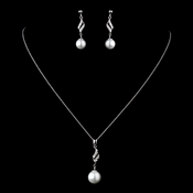 Solid Sterling Silver CZ Crystal & Diamond White Pearl Necklace & Earrings Set 9988