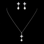 Solid 925 Sterling Silver CZ Crystal Necklace & Fresh Water Pearl Drop Earrings Set  9986