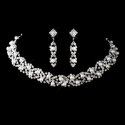 Silver White Pearl & Rhinestone Necklace & Earrings Set 47016
