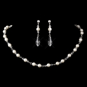 Silver Ivory Pearl Necklace Earring Set 8434